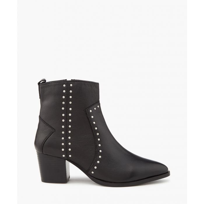 Image for Black studded leather ankle boots