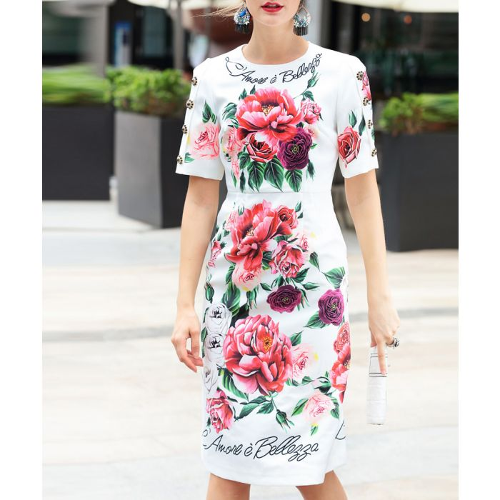 Image for White cotton blend print dress