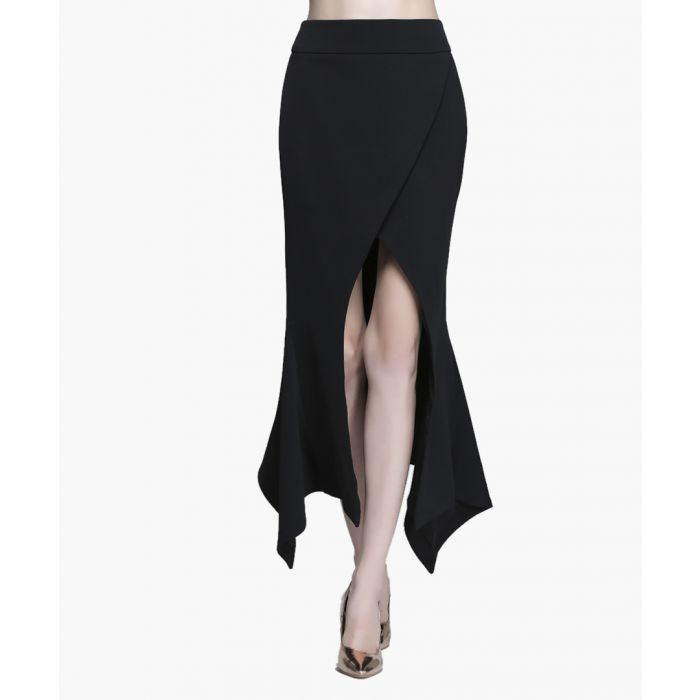 Image for Black front-split maxi skirt