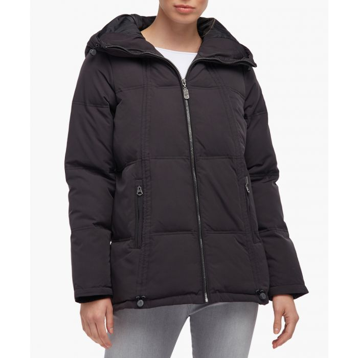 Image for Black quilted hooded anorak