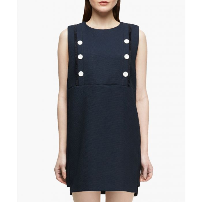 Image for Hebe navy button shift sleeveless dress