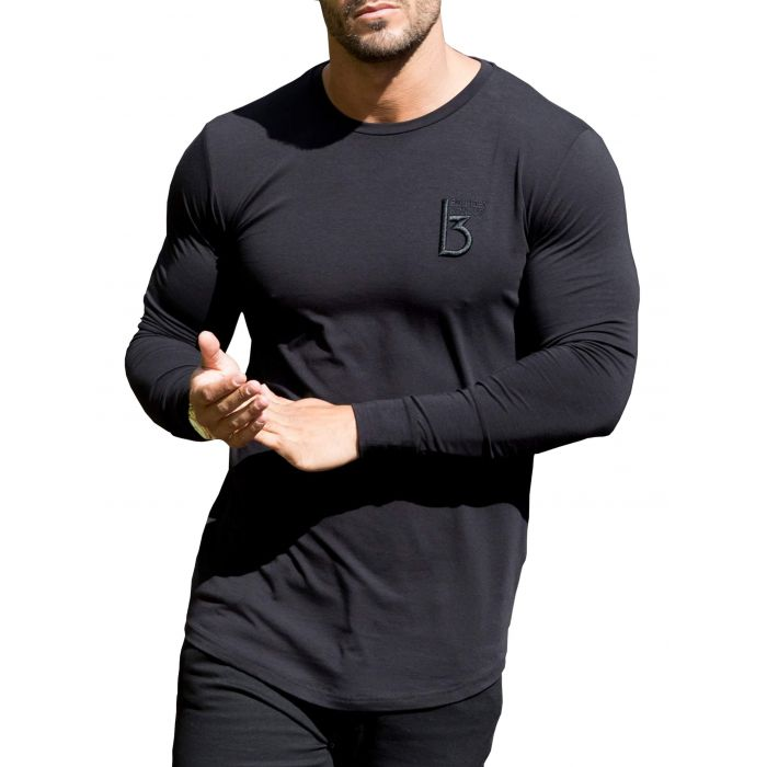 Image for Black long sleeve muscle fit T-shirt