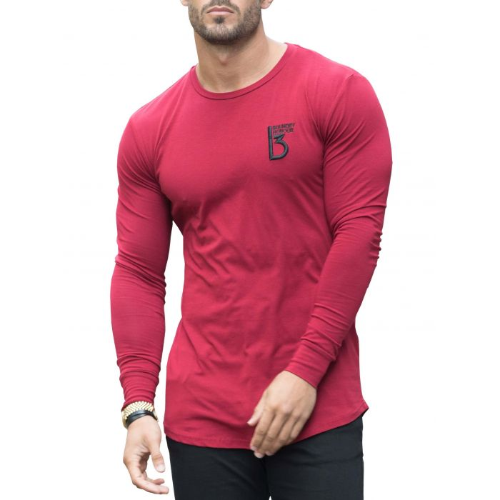 Image for Burgundy long sleeve muscle fit T-shirt
