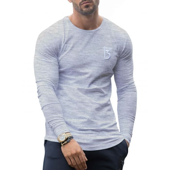 Image for Grey long sleeve muscle fit T-shirt