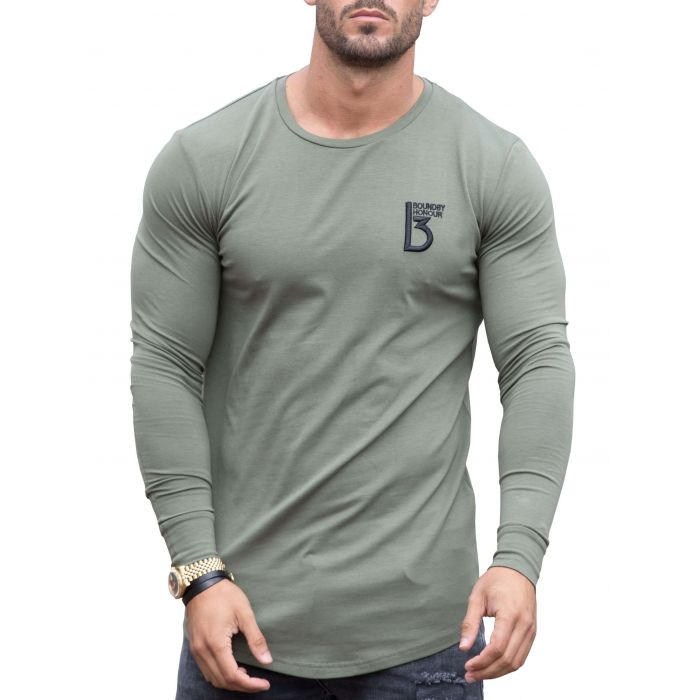 Image for Khaki long sleeve muscle fit T-shirt