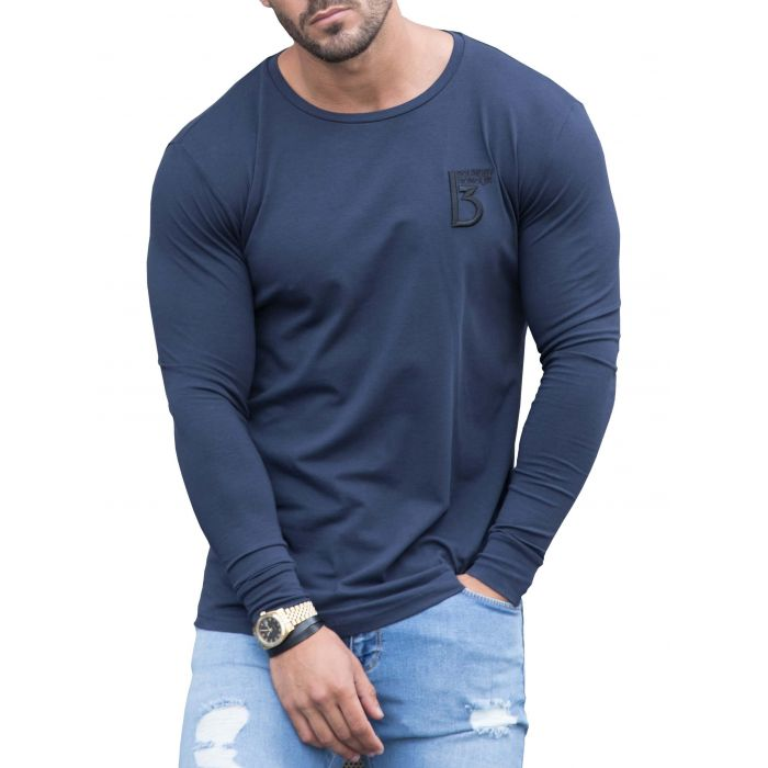 Image for Navy long sleeve muscle fit T-shirt