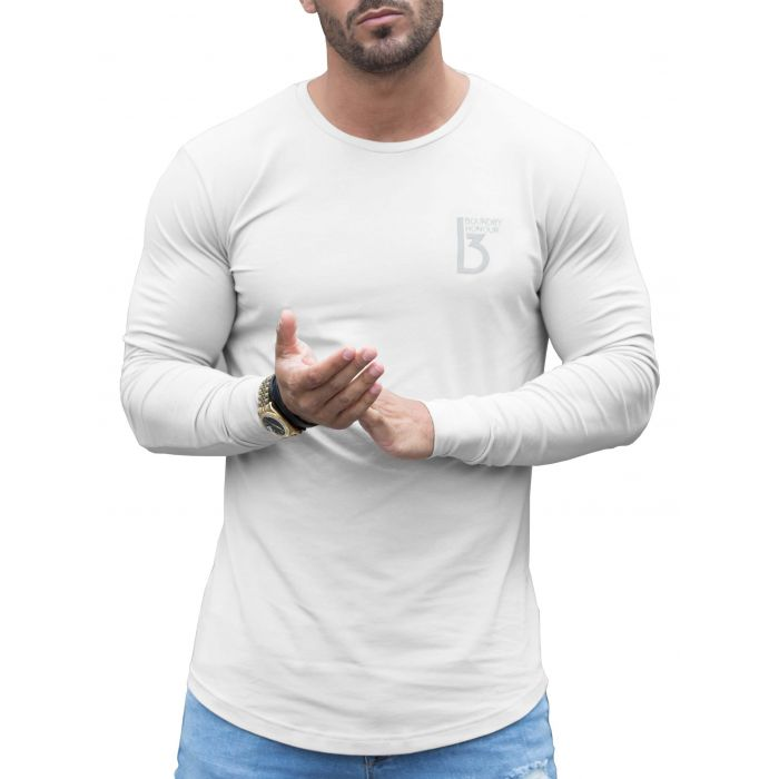 Image for White long sleeve muscle fit T-shirt