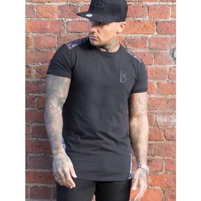 Image for Mens black cotton athletic fit T-shirt