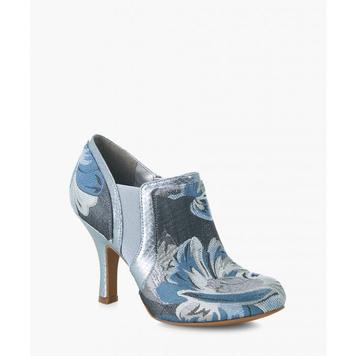 Image for Juno sky blue printed heeled boots