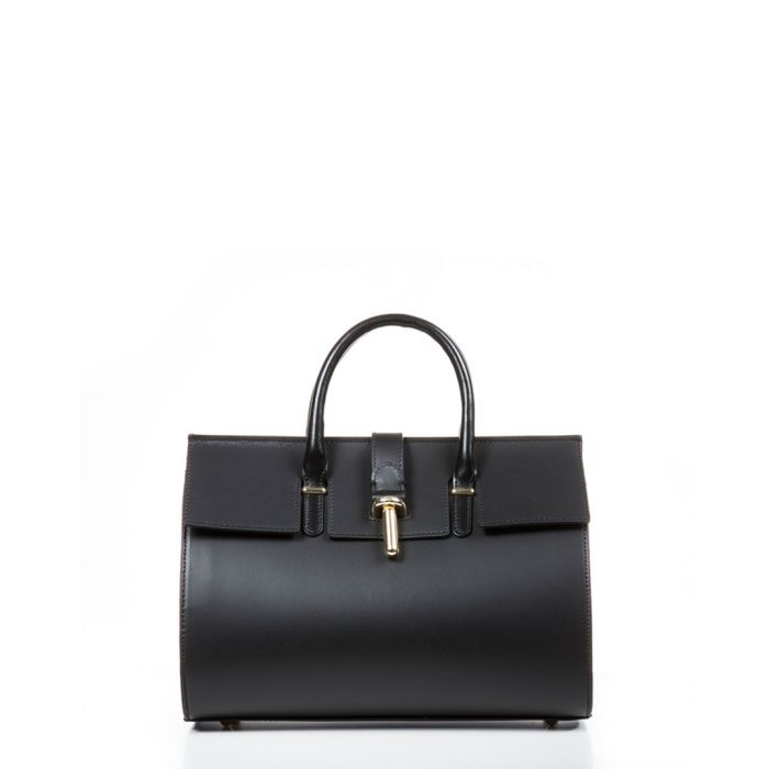 Image for Secchia black leather grab bag