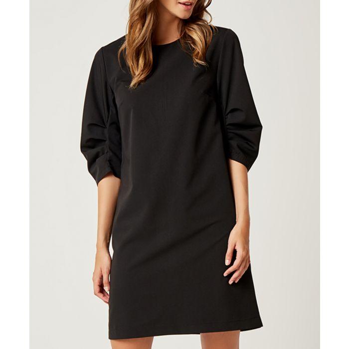 Image for Black half-sleeve oversize dress