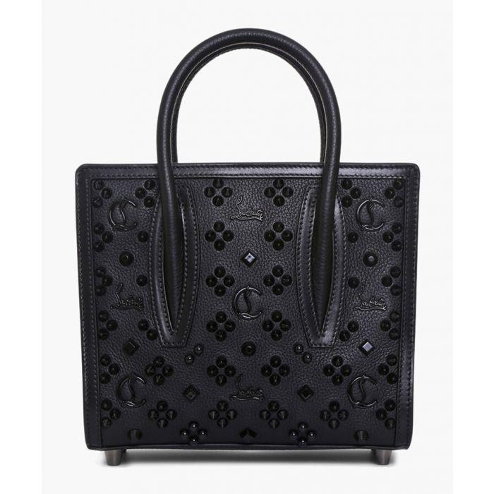 Image for Black leather patterned shopper