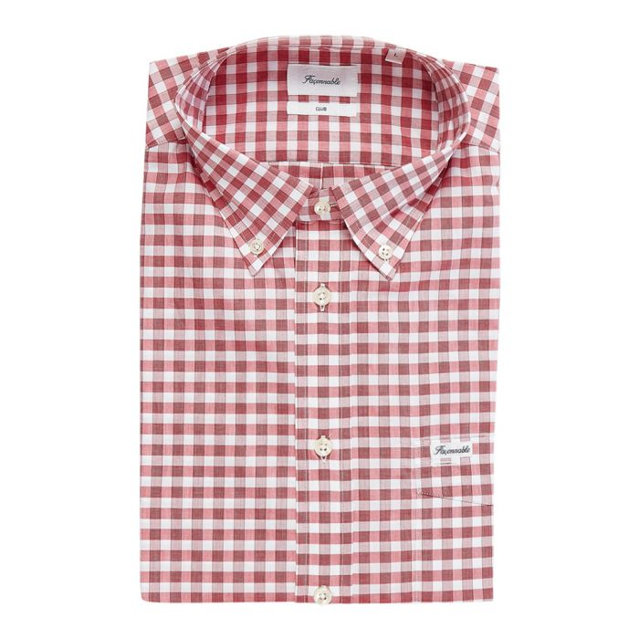 Image for Club dark pink button-down checked shirt