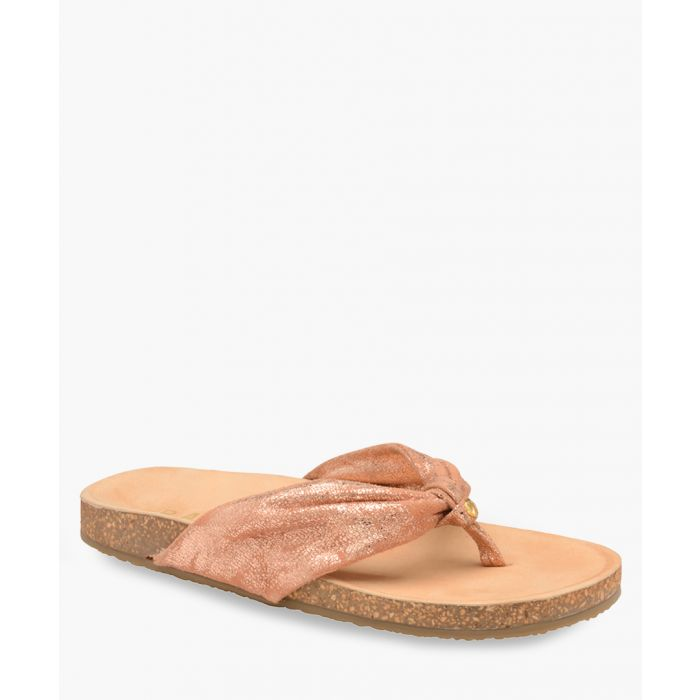 Image for Rose gold-tone leather thick Y sandals