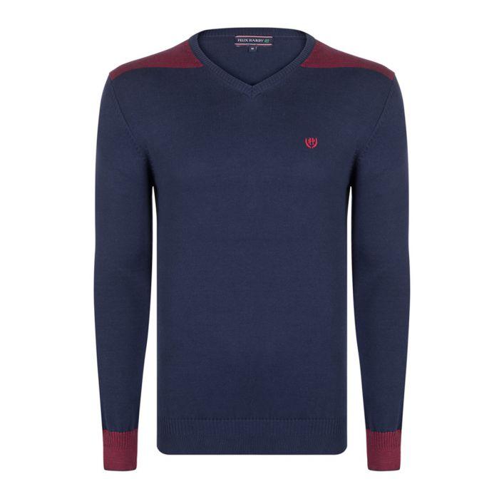 Image for Navy pure cotton V-neck jumper