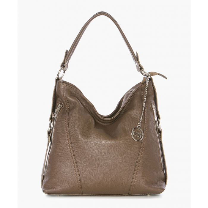Image for Taupe pebbled leather slouch bag