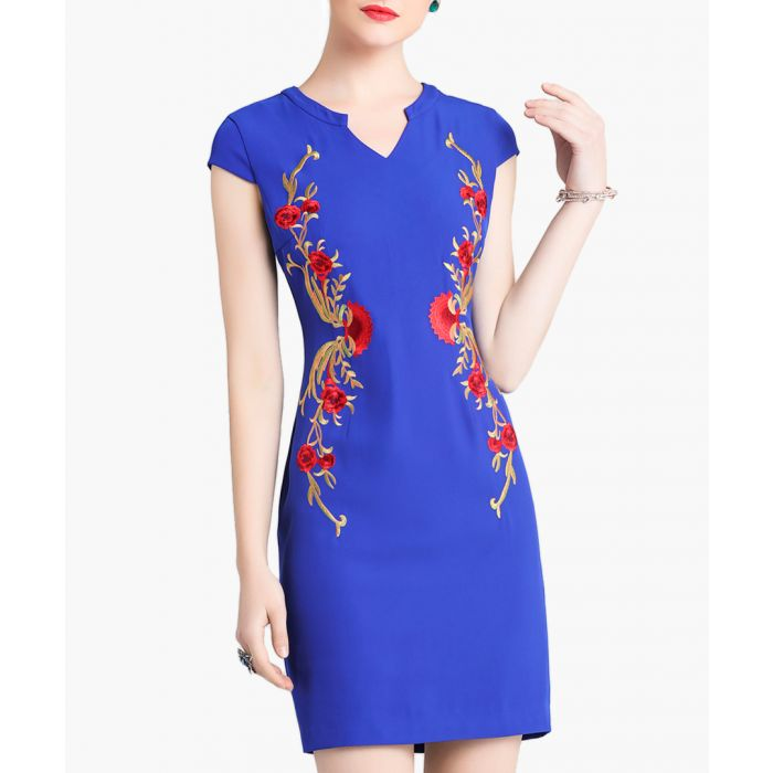 Image for Blue floral embroidered mini dress