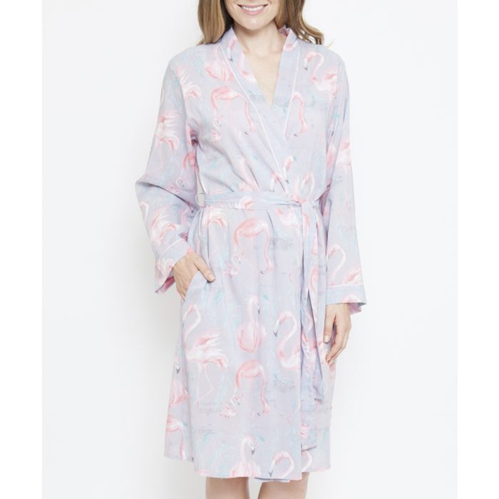 Image for Zara grey cotton-blend flamingo print robe