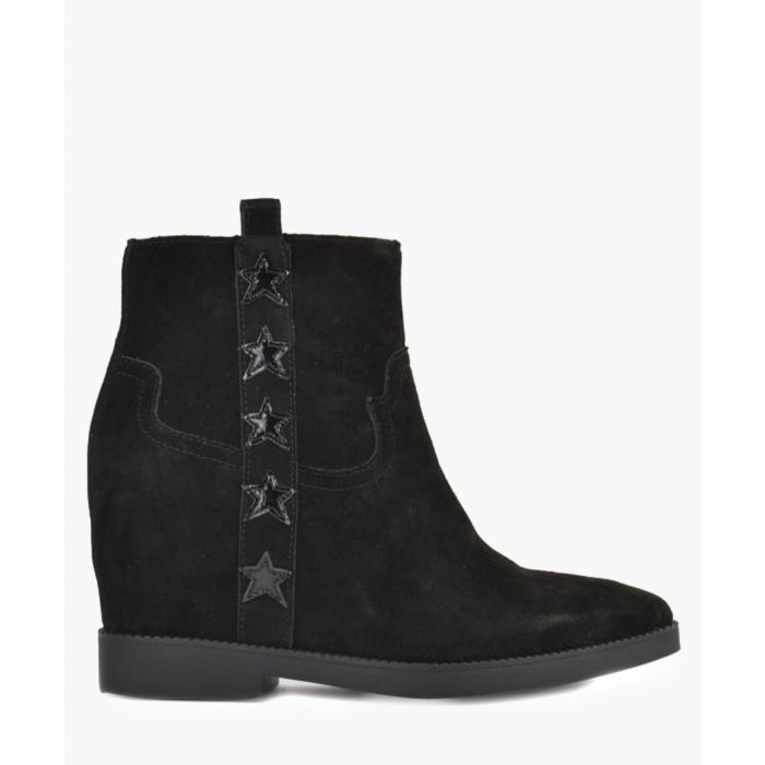 Image for Goldie black leather star boots