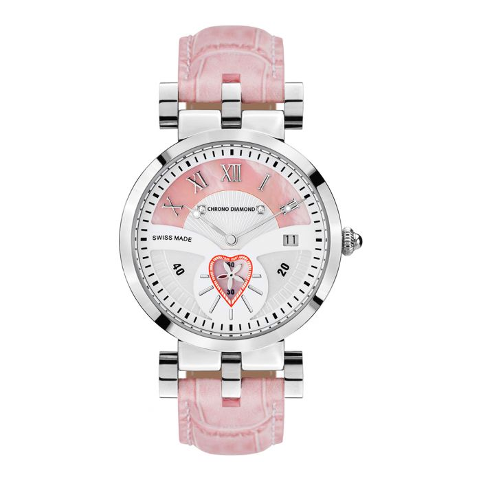 Image for Feronia pink diamond half-dial watch