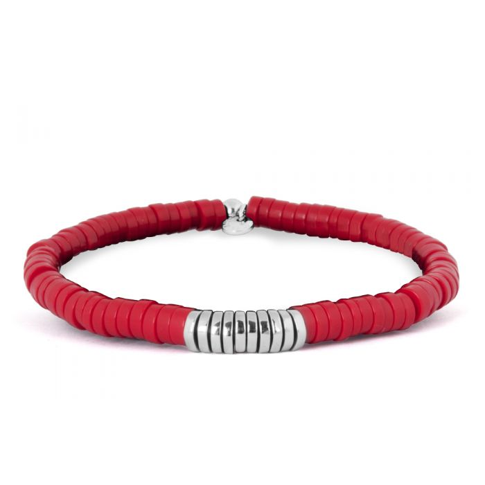 Image for Silver  Melted discs  Recon Coral  Discs Single wrap  M - 17.5cm CF Bamboo Bracelet