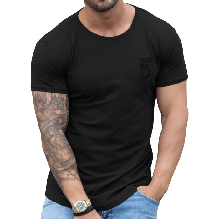 Image for Black Muscle Fit Curved Hem T-Shirt