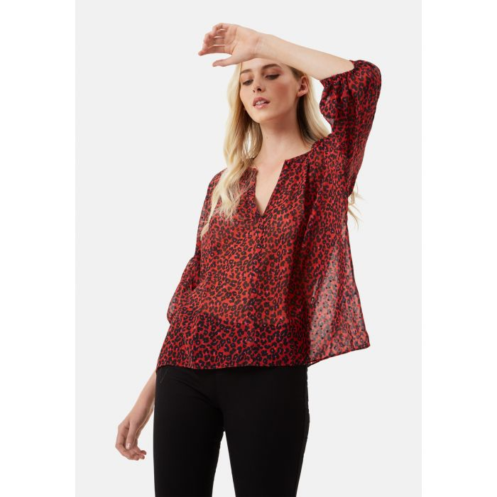 Image for Folklore red animal print shirt