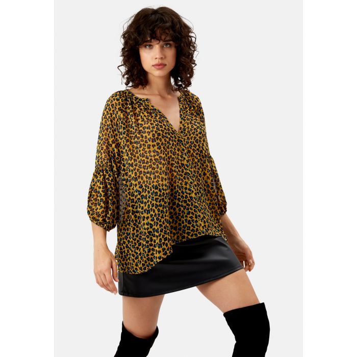 Image for Folklore Animal Print Top in Mustard
