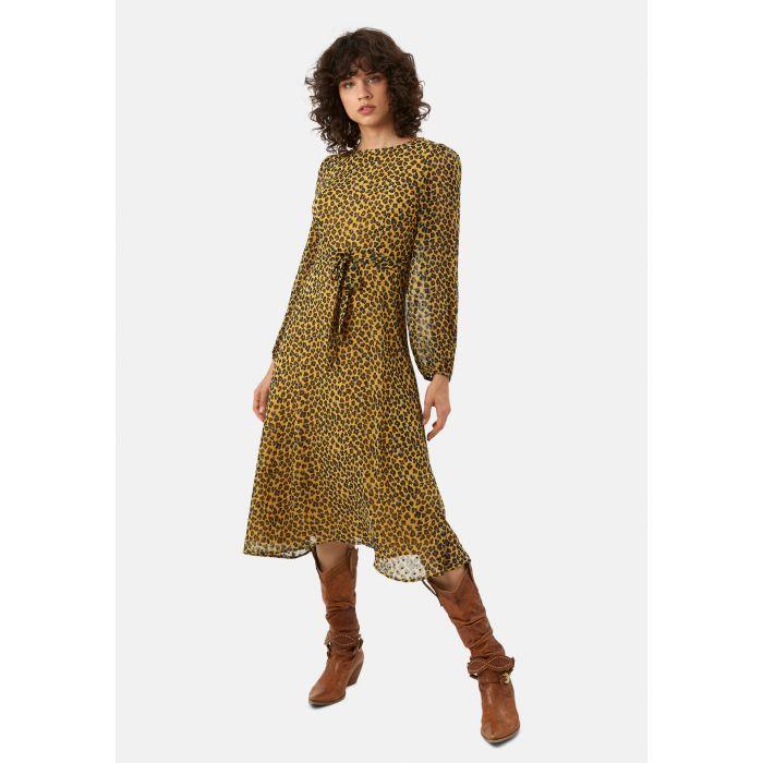 Image for Mood mustard midi long sleeve animal dress