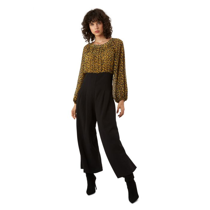 Image for Haughty mustard animal print long sleeve jumpsuit