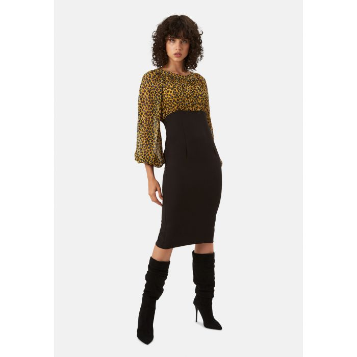 Image for Wiggle and Wave mustard animal print pencil midi dress