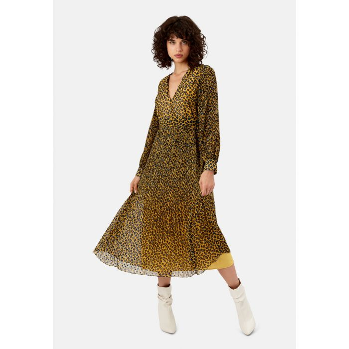 Image for Fallen mustard animal print maxi dress