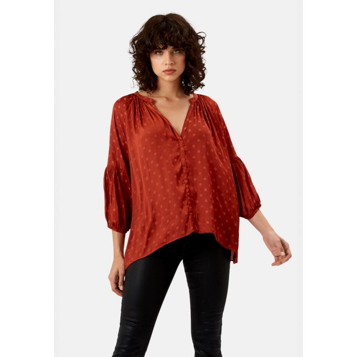 Image for Folklore rust polka dot top