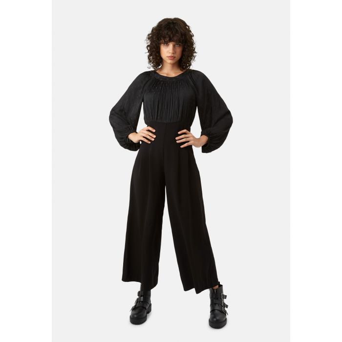 Image for Haughty black polka dot long sleeved jumpsuit