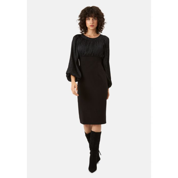 Image for Wiggle and Wave black polka dot long sleeved midi dress