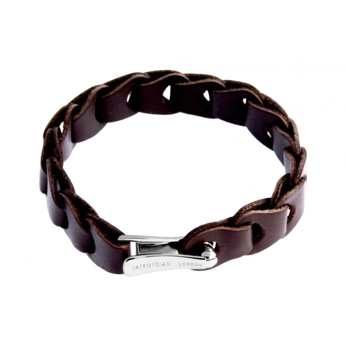 Image for Silver Leather Brown Single wrap 19cm Braided Horse Shoe