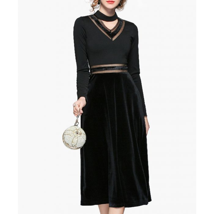 Image for Black high-neck cut-out midi dress