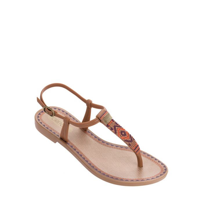 Image for Acai ochre aztec fabric thong sandals