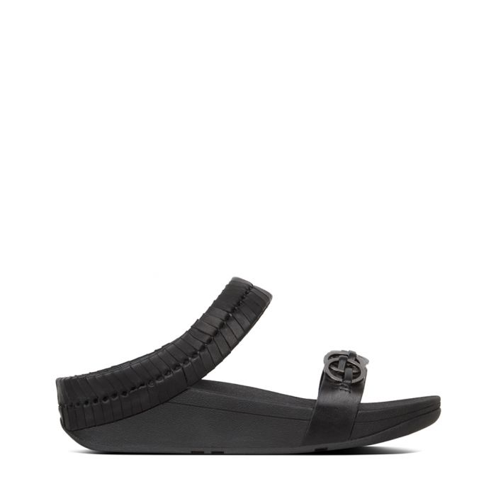 Image for Cirque black leather slides