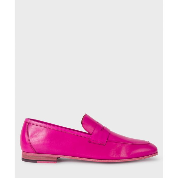 Image for Fuchsia leather slip-ons