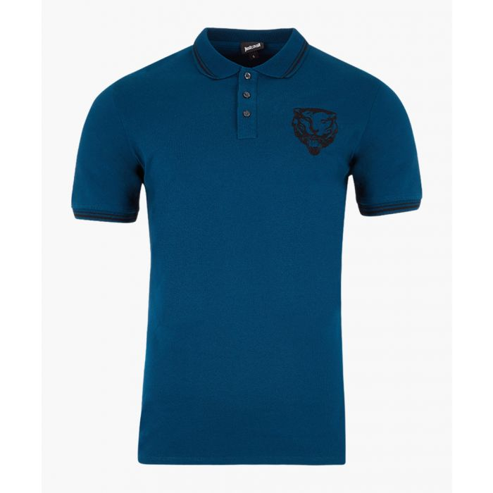 Image for Blue cotton embroidered lion polo shirt