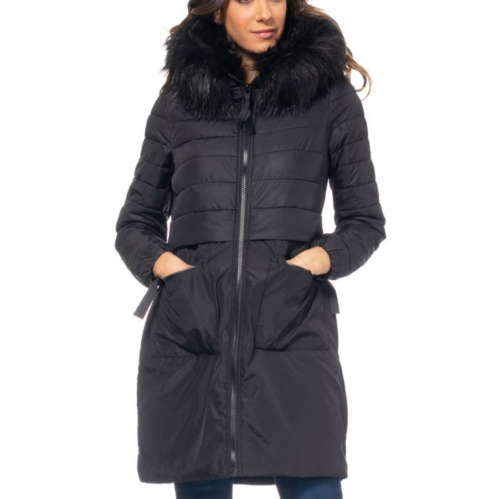 Image for Black faux fur zip-up puffer jacket