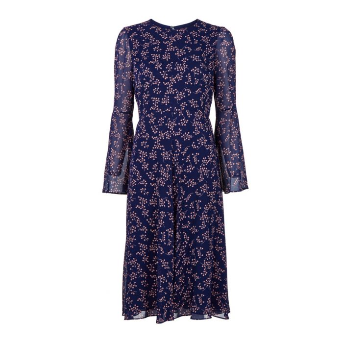 Image for Celia blue floral sheer sleeve dress