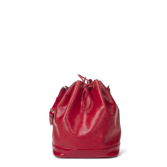Image for Noe red leather bucket bag
