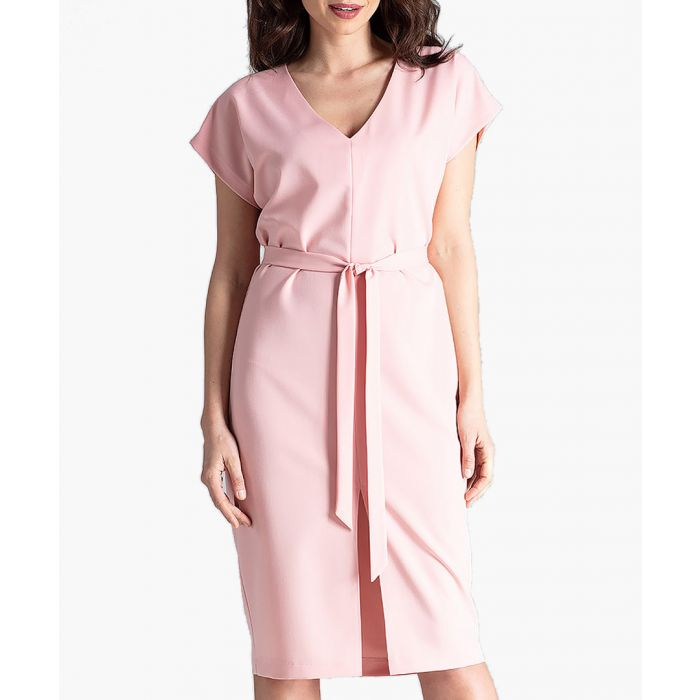 Image for Pale pink waist-tie V-neck dress