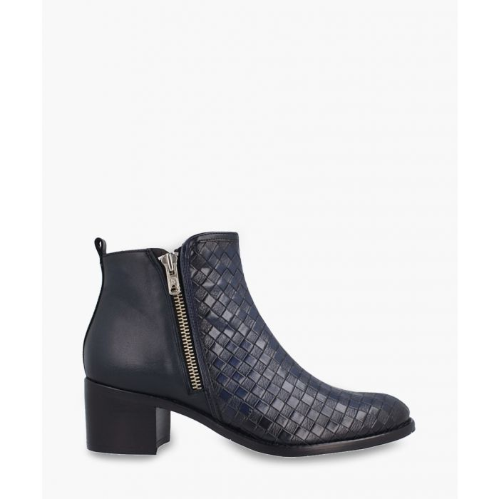 Image for Navy leather weave-effect ankle boots