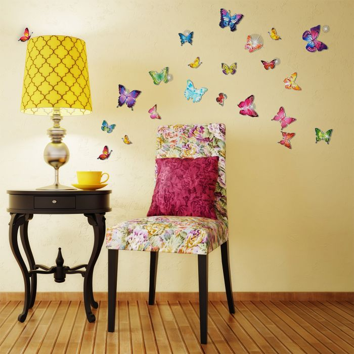Image for Wall Sticker Decal Colourful Butterflies with Swarovski Crystals