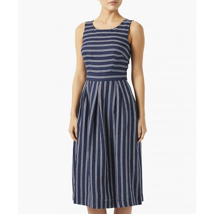 Image for George navy pure linen stripe dress