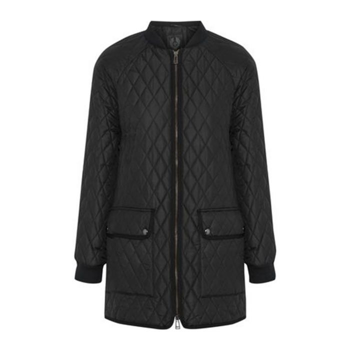 Image for Black quilted zip-up coat