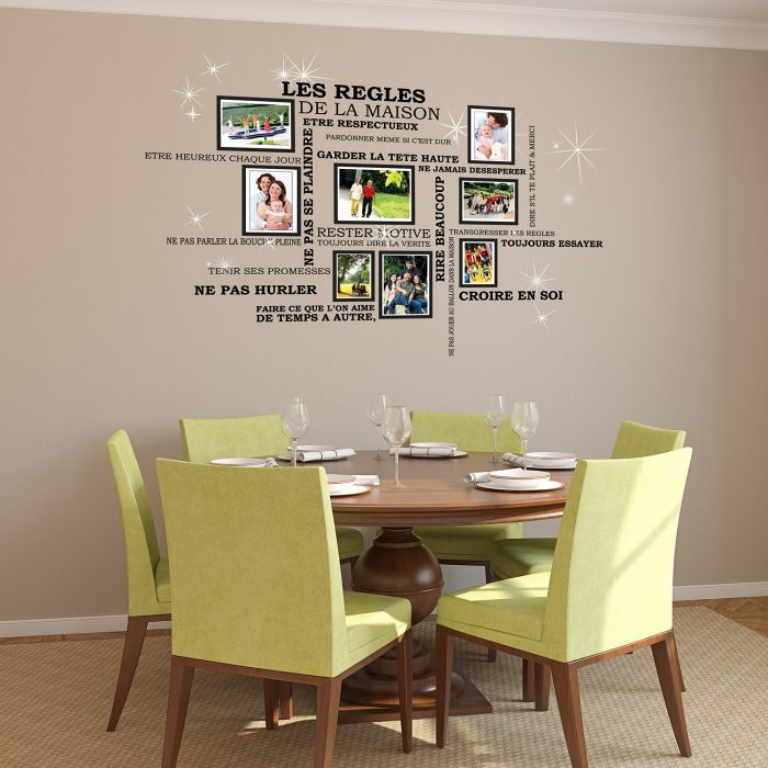 Image for House Rules Quote, Photo Frame Birdcage and Swarovski Wall Sticker